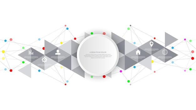 Информационные технологии с элементами инфографики и плоскими значками. абстрактный фон с соединительными точками и линиями. подключение к глобальной сети, цифровые технологии и концепция связи.