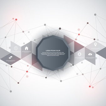 インフォグラフィック要素とフラットアイコンを備えた情報技術。点と線を接続する抽象的な背景。グローバルネットワーク接続、デジタルテクノロジー、通信コンセプト。