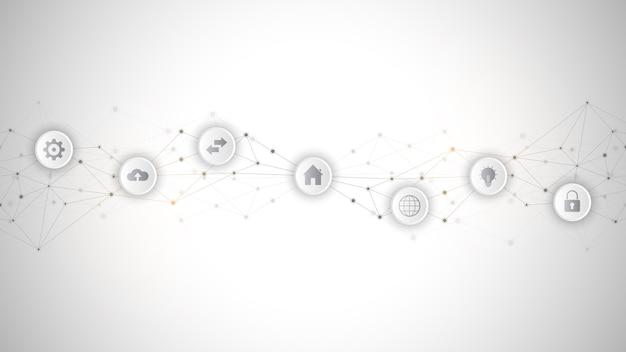 인포 그래픽 요소와 평면 아이콘이있는 정보 기술. 추상 기술적 배경입니다. 디지털 기술, 네트워크 연결 및 통신 개념.