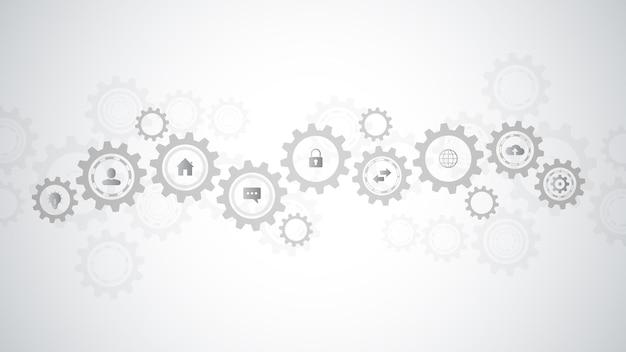 インフォグラフィック要素とフラットアイコンを備えた情報技術。歯車と歯車のメカニズム。ハイテクデジタルテクノロジーとエンジニアリング。抽象的な技術的背景。