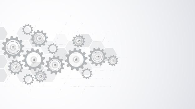 Информационные технологии с элементами инфографики и плоскими значками. зубчатые и шестеренные механизмы. высокотехнологичные цифровые технологии и инженерия. абстрактный технический фон.