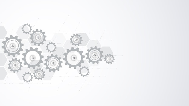 Information technology with infographic elements and flat icons. cogs and gear wheel mechanisms. hi-tech digital technology and engineering. abstract technical background. Premium Vector