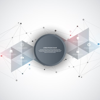 Information technology with infographic elements and flat icons