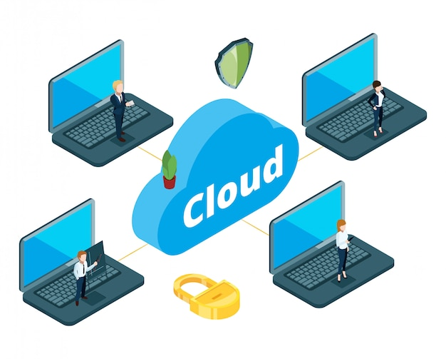 Information transfer concept. isometric cloud storage.  business team used local network for work