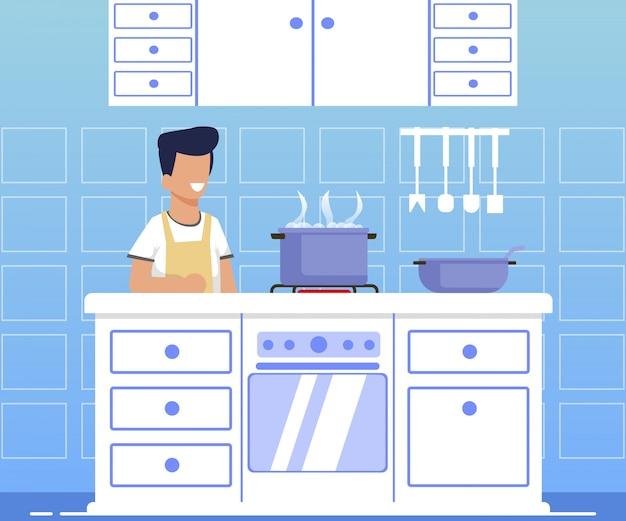 Informational banner cooking for men cartoon.