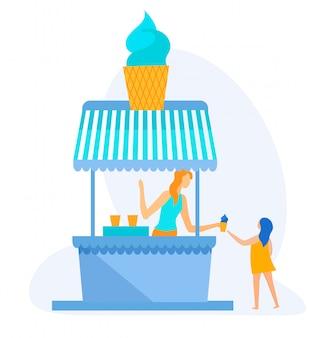 Informational banner ice cream on beach cartoon.