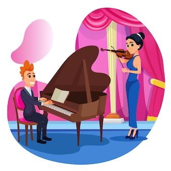 情報デュエットヴァイオリンとピアノ。