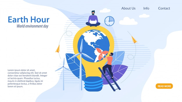 Informational flyer earth hour, cartoon flat.