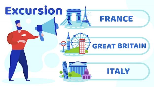 Informational flyer lettering excursion cartoon.
