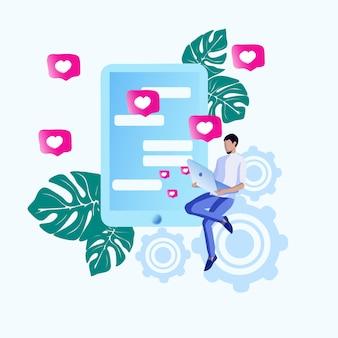 Информационный урожай маркетинг мультик. предпринимательская деятельность в отношении рынков. человек с ноутбуком читает сообщения и кладет сердца. на переднем плане смартфон с сообщениями.