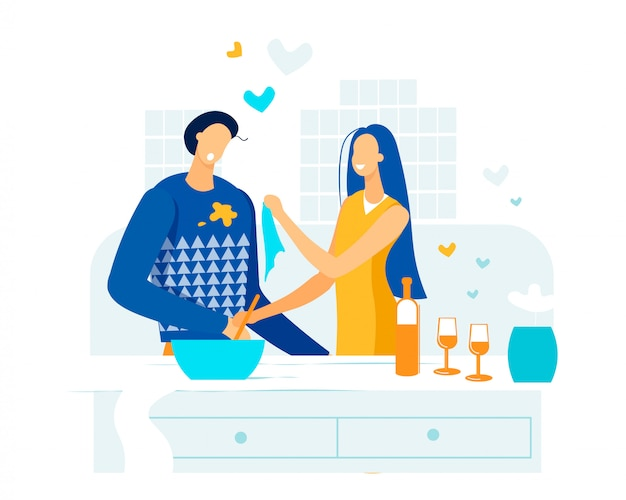 Informational poster couple in love dinner flat