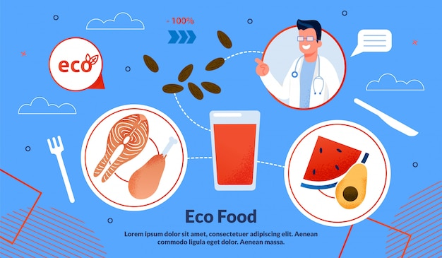 Informational poster is written eco food flat.