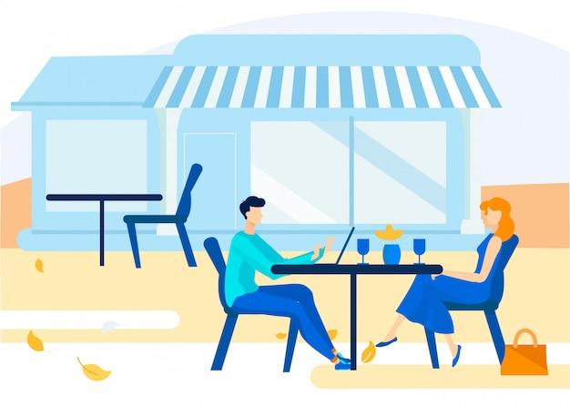 Informational poster summer ground cafe cartoon.