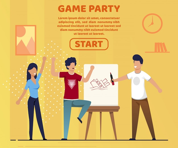 Informative banner game party lettering cartoon.
