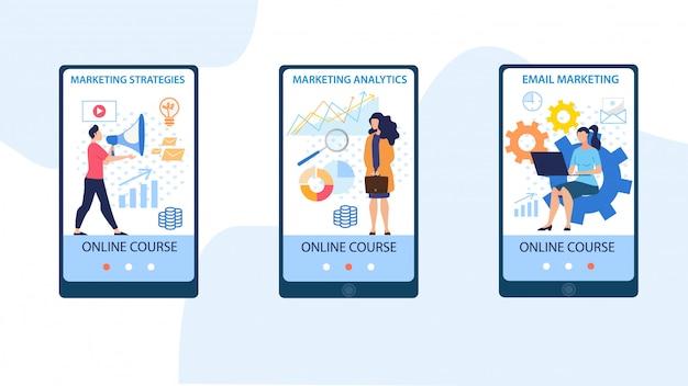 Informative banner inscription marketing courses.