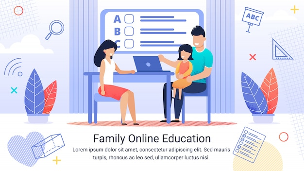 Informative banner text template and family online education.