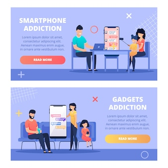 Informative banner written smartphone addiction.
