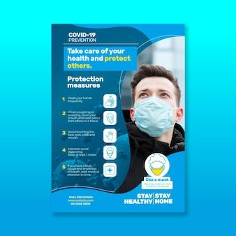 Volantino informativo sul coronavirus con foto
