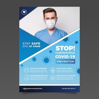 Информационный флаер о коронавирусе с изображением Premium векторы