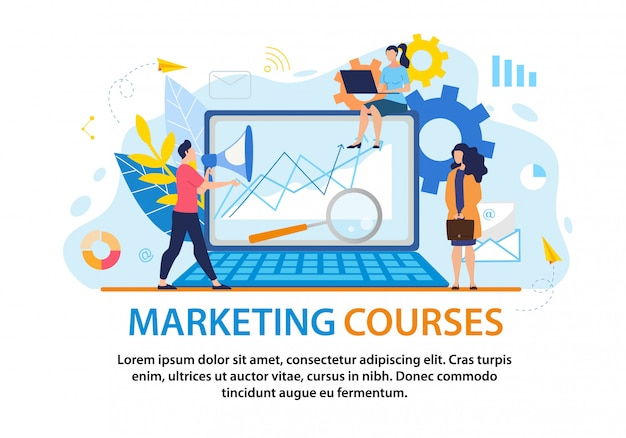 Informative flyer inscription marketing courses.