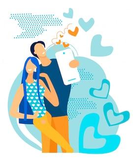 Informative flyer man and woman take selfie flat