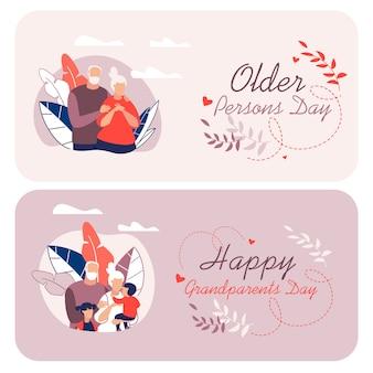 Informative flyer written happy grandparents cartoon.