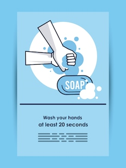 Informative poster of covid19 recommendation of hands washing vector illustration design