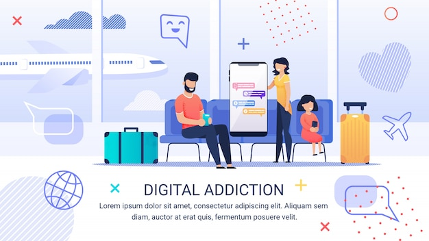 Informative poster inscription digital addiction.