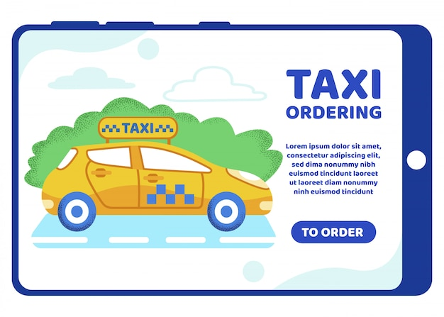 Informative poster inscription taxi ordering