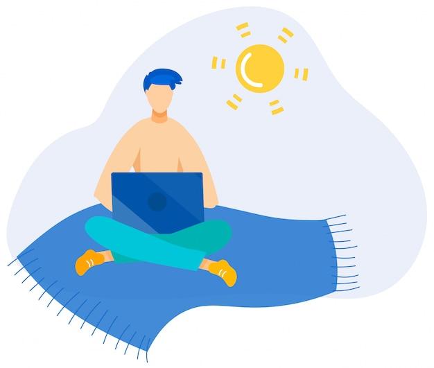 Informative poster summer job at beach cartoon.