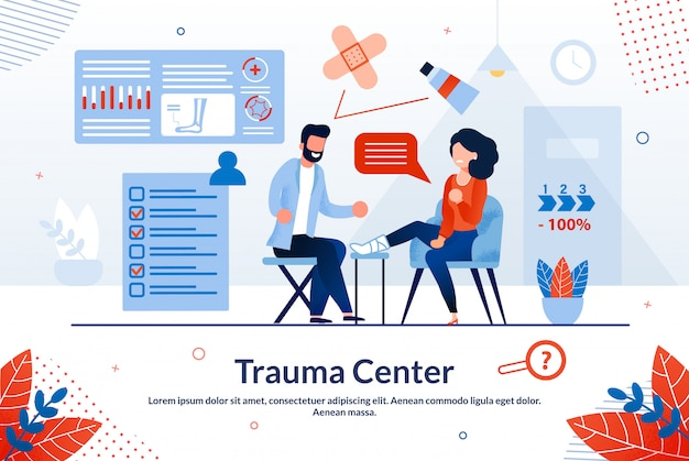 Informative poster trauma center lettering flat.