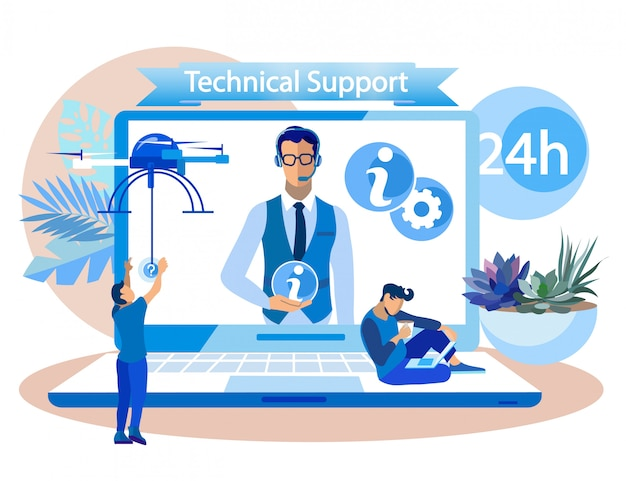 Informative poster written technical support. achieving measurable goal in workplace. on screen laptop guy at center call center transmits information cartoon. illustration.