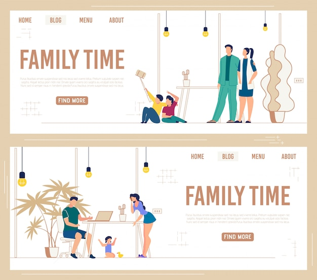 Informative set banner of inscription family time.