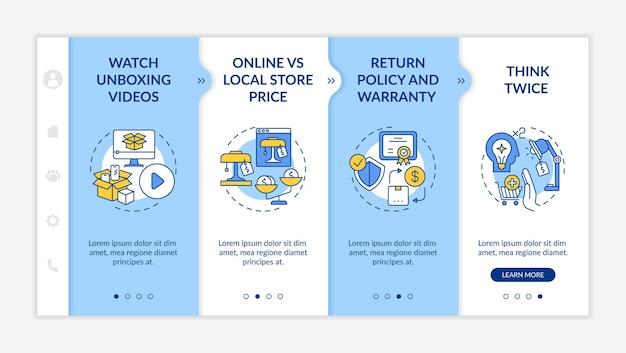 Шаблон для ознакомления с информированными покупателями. политика возврата, гарантия. подумал дважды. адаптивный мобильный сайт с иконками. экраны пошагового просмотра веб-страниц. цветовая концепция