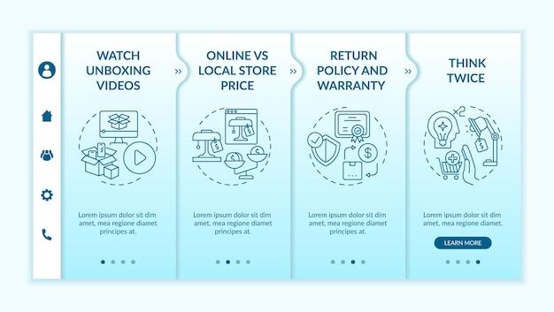 情報に基づいた買い物客のアドバイスオンボーディングテンプレート。開封動画を見る。オンラインおよびローカルストアの価格。アイコン付きのレスポンシブモバイルウェブサイト。 webページのウォークスルーステップ画面。 rgbカラーコンセプト