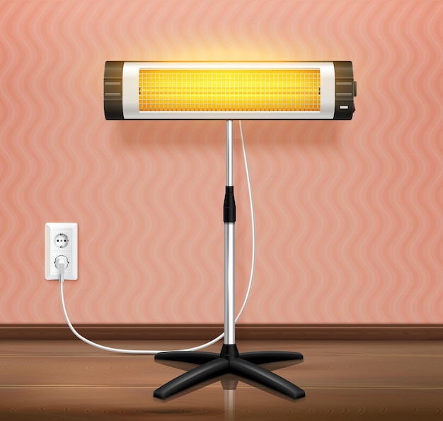 Infrared heater waves realistic illustration