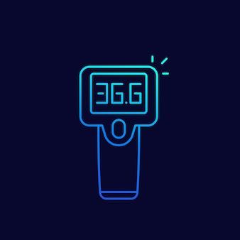 적외선 온도계 총 라인 아이콘, 벡터