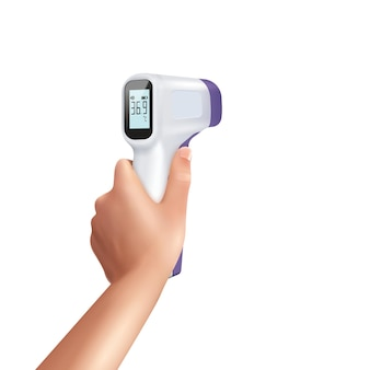 비접촉 온도계를 들고 있는 인간 손의 고립된 이미지가 있는 현실적인 구성의 적외선 온도계
