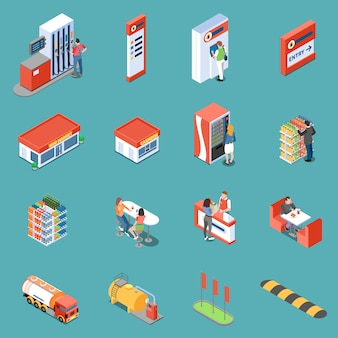 Infrastructure of gas station and services for clients isometric icons isolated vector illustration