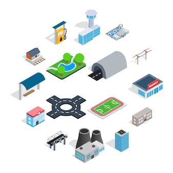Infrastructure icons set, isometric 3d style