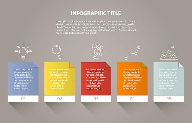Ingographicビジネスのための5つのプロセスまたはステップとアイコン。