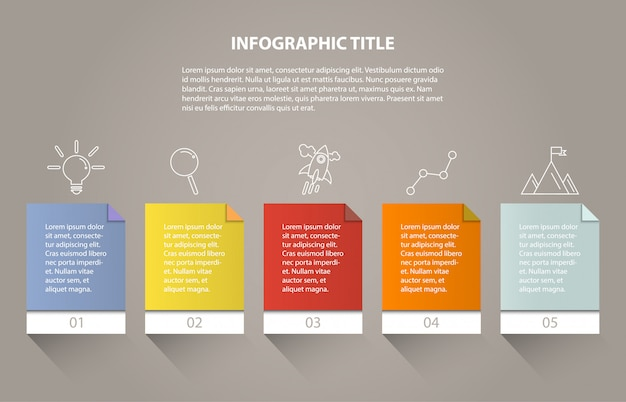 Ingographic five process or step and icons for business.