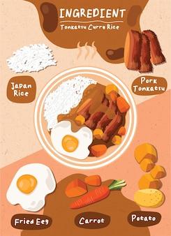 재료 Tonkatsu Curry Rice 음식 일본 요리 요소 프리미엄 벡터