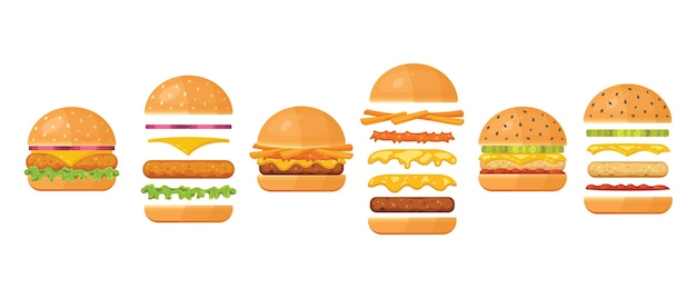 Ingredients for classic burger isolated on white. ingredients: bun, cutlet, cheese, bacon, sauce, buns, tomato, onion, cucumbers, beefs ham.