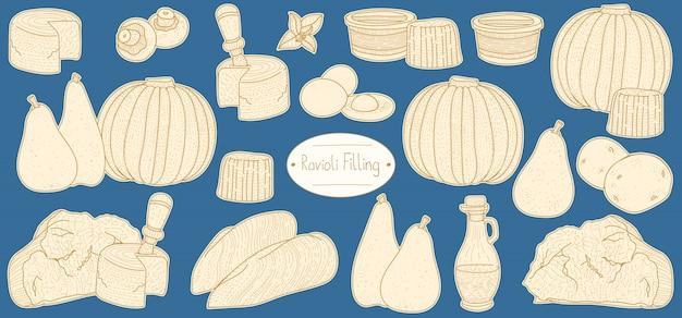Ingredients for filling for stuffed pasta ravioli