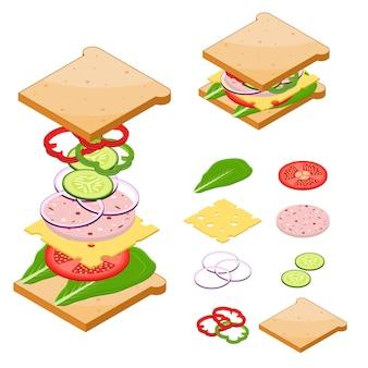 クラシックなおいしいサンドイッチアメリカンファーストフードの材料。
