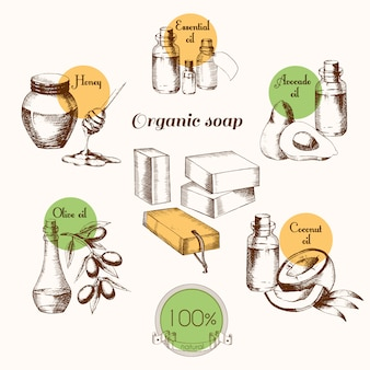 有機石鹸を作るための材料。天然物・イラスト