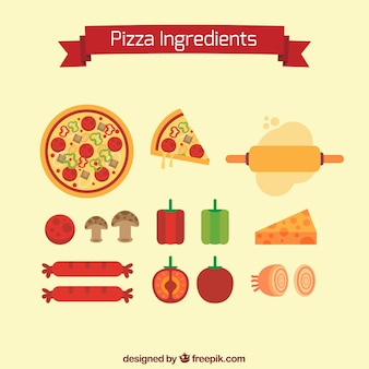 Ingredients to make a pizza