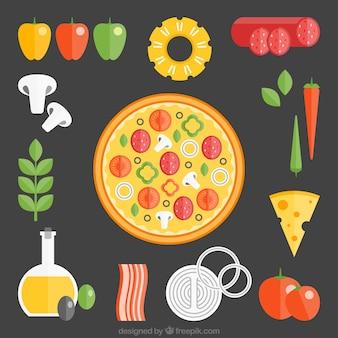 黒い背景にピザの原料