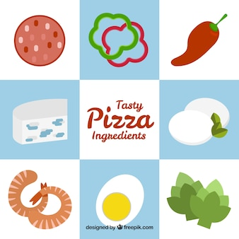 Ingredients for pizza on a background with blue and white squares